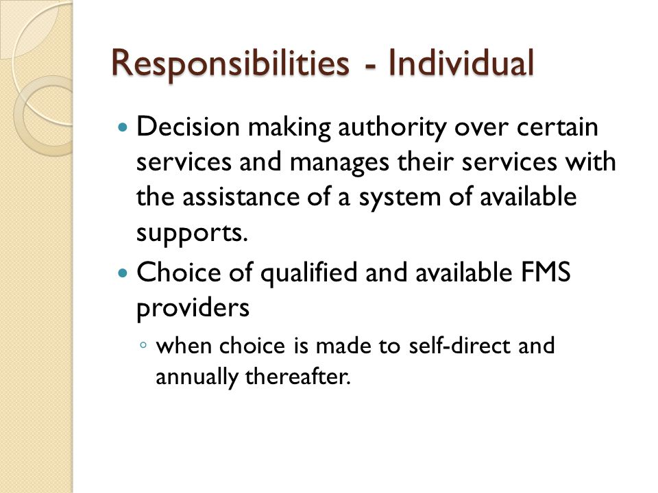 Responsibilities - Individual