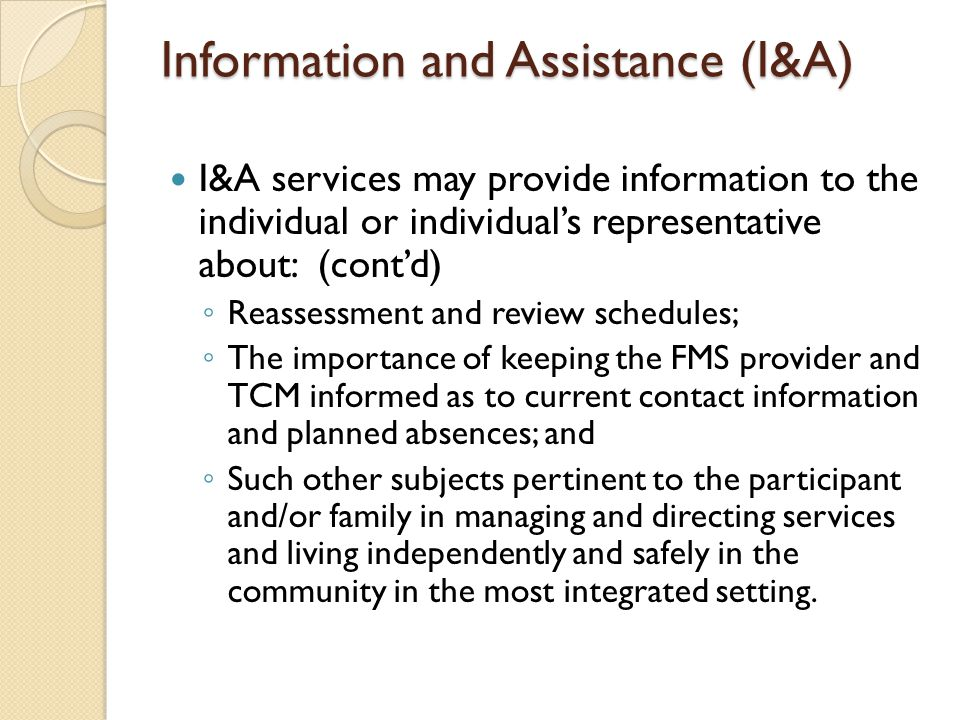Information and Assistance (I&A)