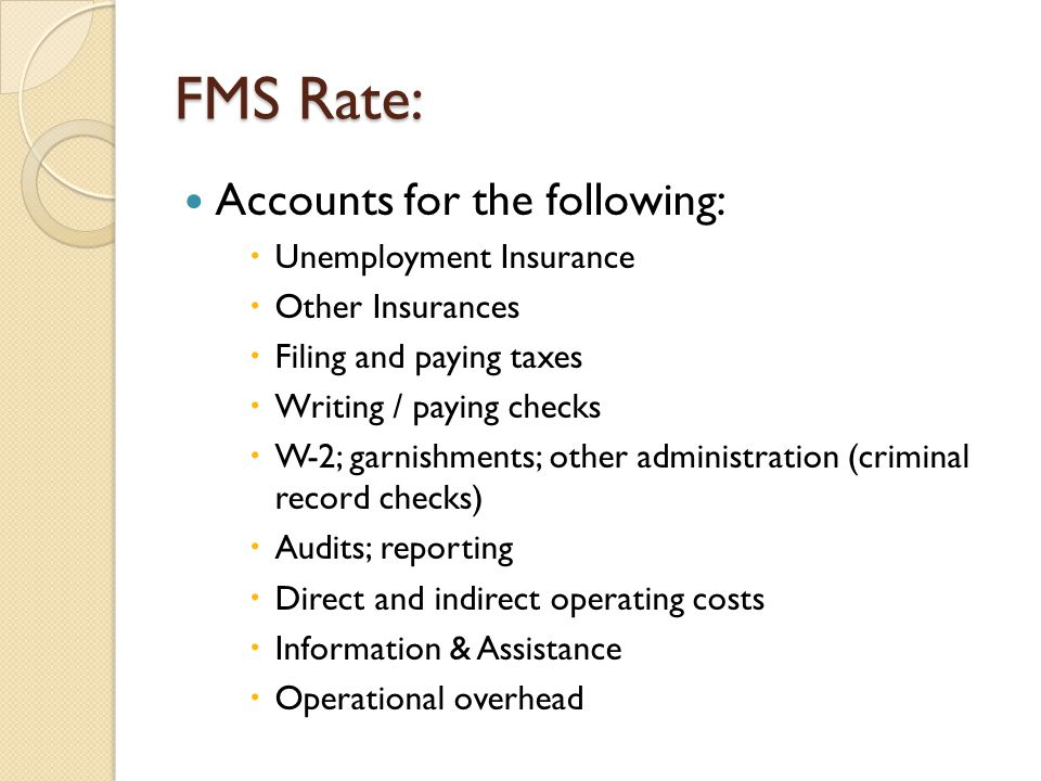 FMS Rate: Accounts for the following: Unemployment Insurance