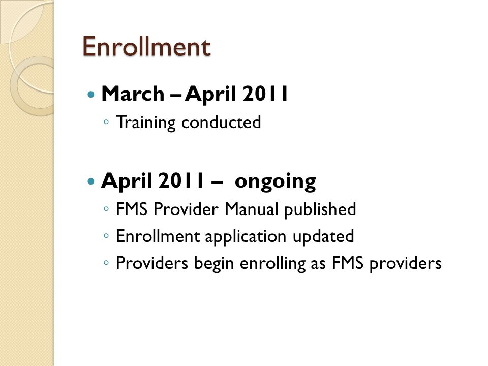 Enrollment March – April 2011 April 2011 – ongoing Training conducted