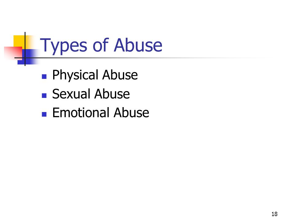 Types of Abuse Physical Abuse Sexual Abuse Emotional Abuse
