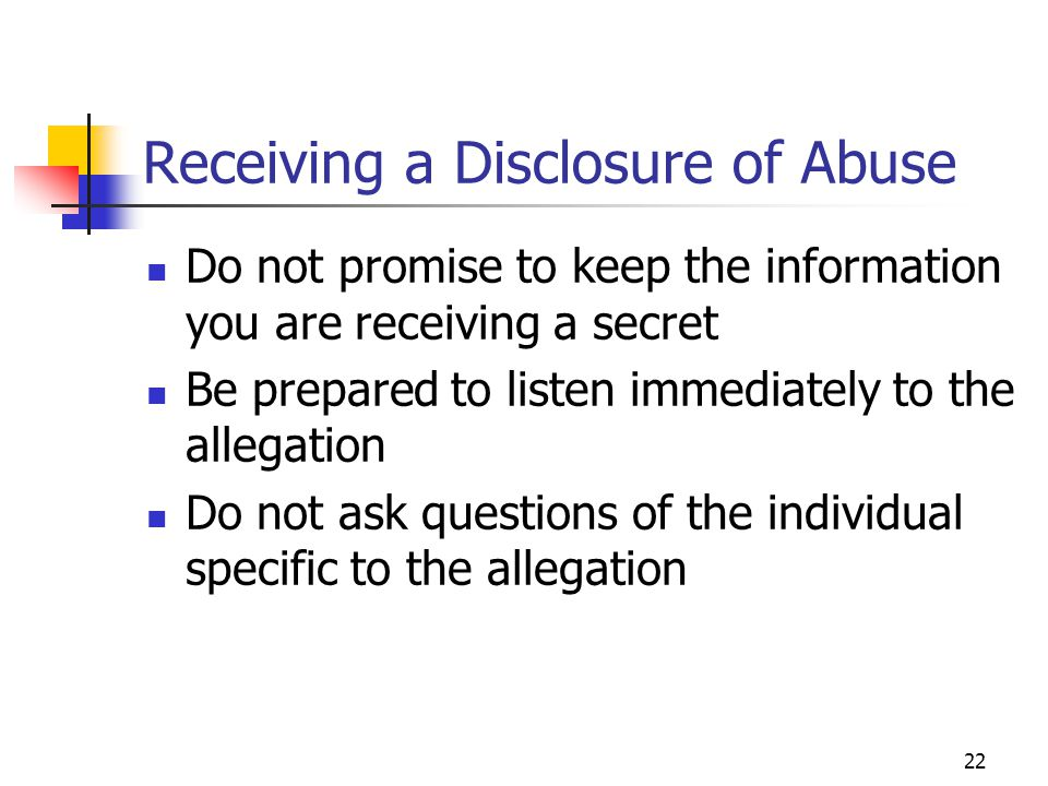Receiving a Disclosure of Abuse