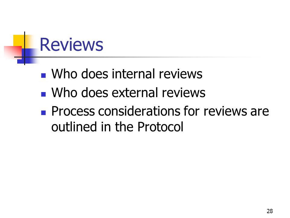 Reviews Who does internal reviews Who does external reviews