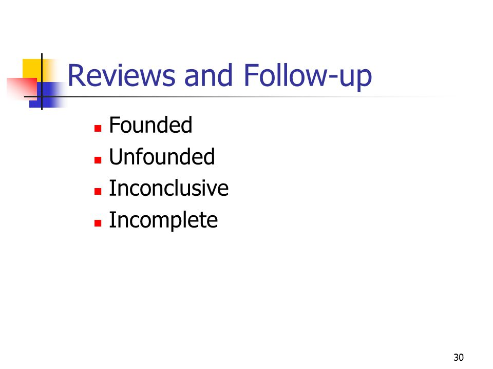 Reviews and Follow-up Founded Unfounded Inconclusive Incomplete