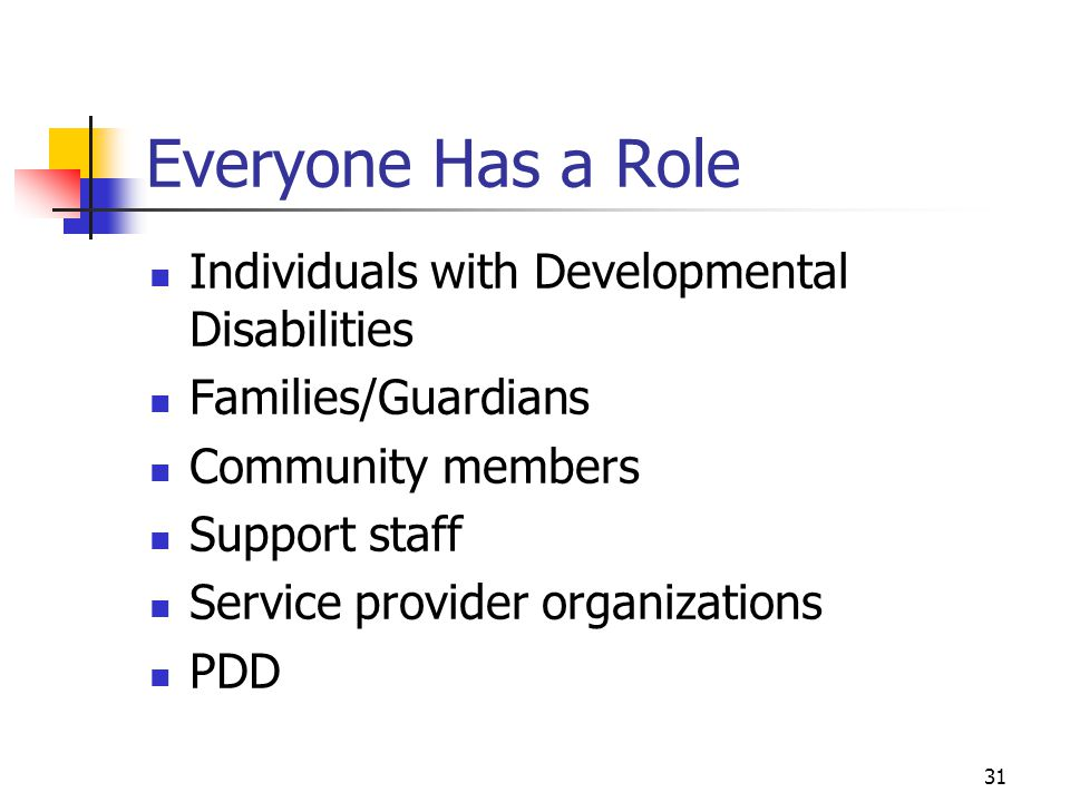 Everyone Has a Role Individuals with Developmental Disabilities