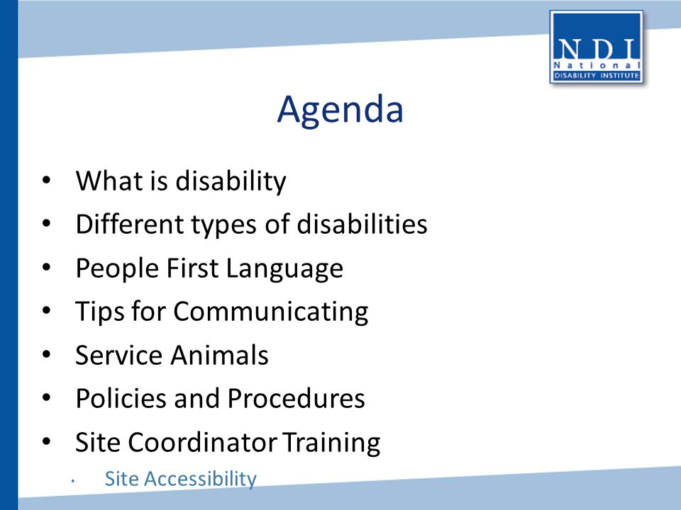 Agenda What is disability Different types of disabilities