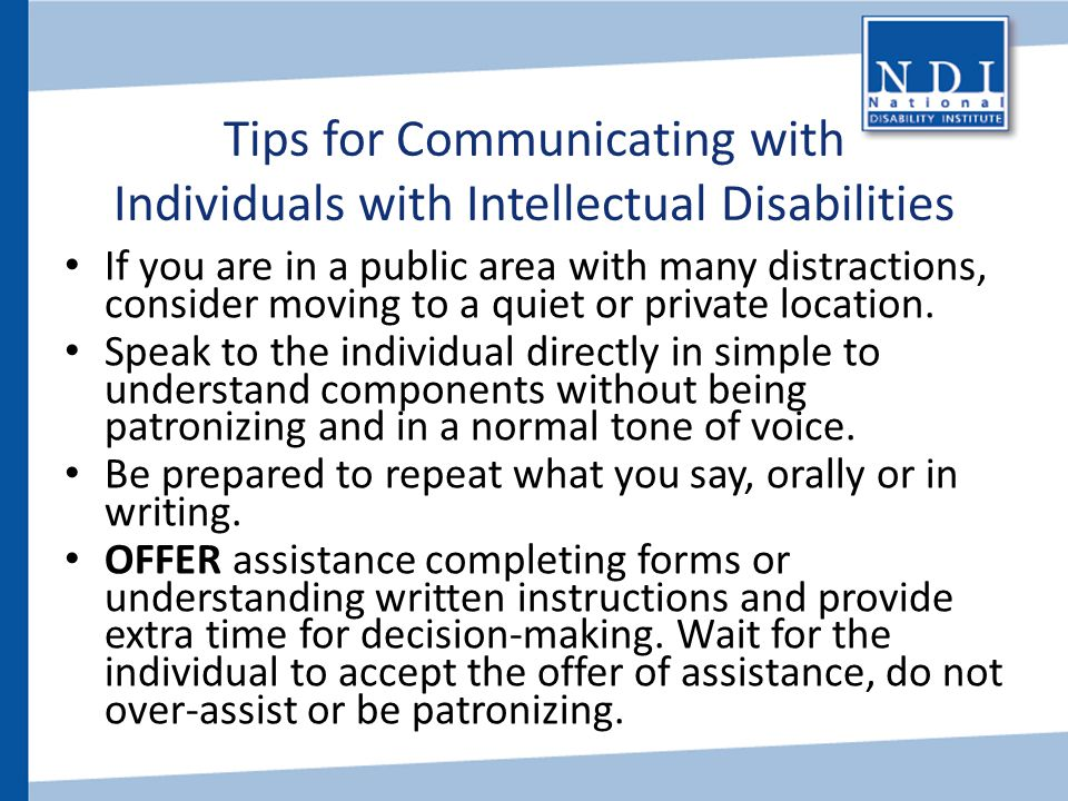 Tips for Communicating with Individuals with Intellectual Disabilities