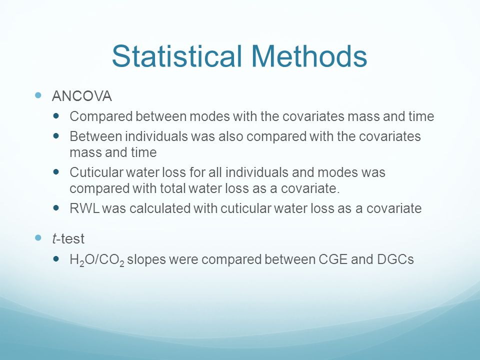Statistical Methods ANCOVA t-test