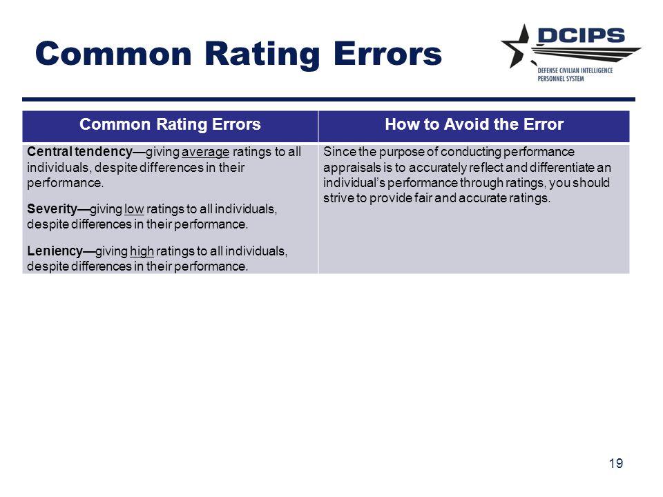 Common Rating Errors Common Rating Errors How to Avoid the Error