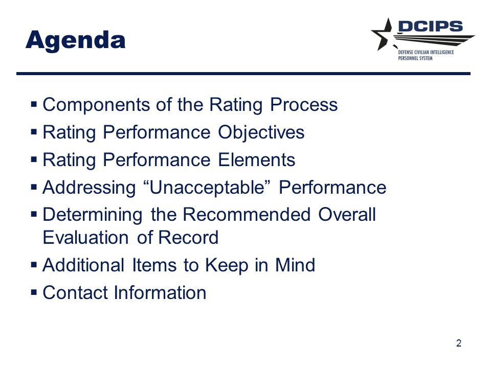 Agenda Components of the Rating Process Rating Performance Objectives