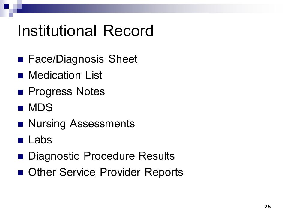 Institutional Record Face/Diagnosis Sheet Medication List