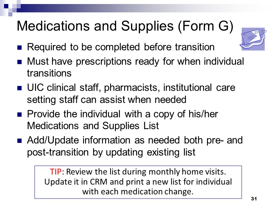 Medications and Supplies (Form G)