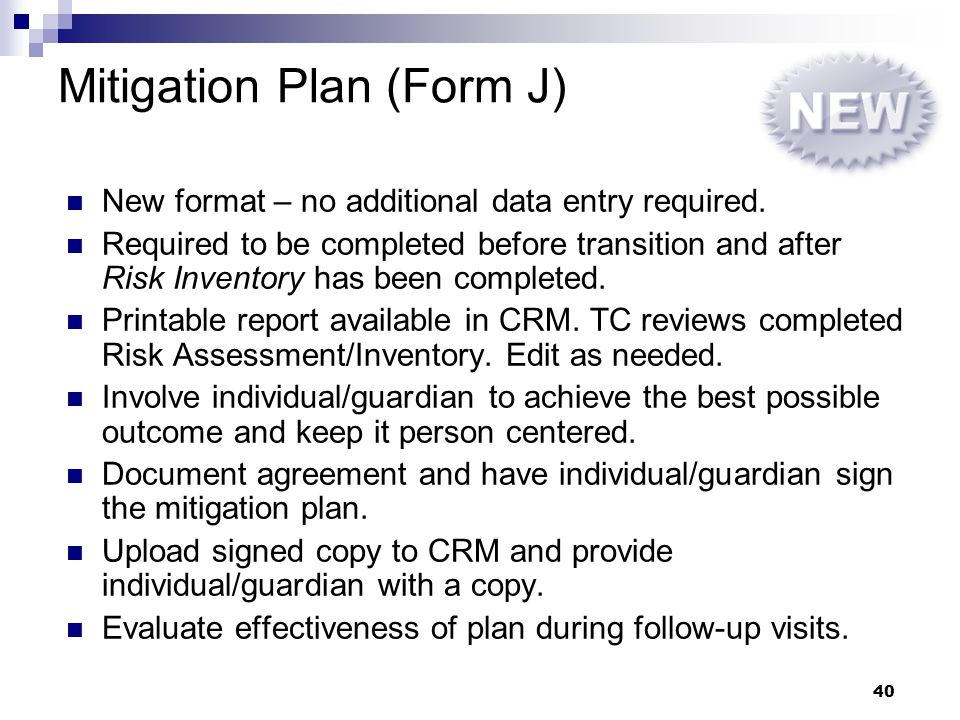Mitigation Plan (Form J)