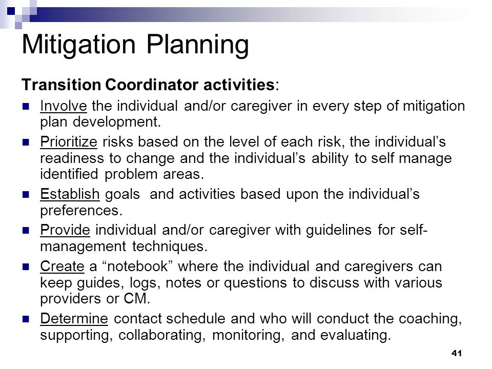 Mitigation Planning Transition Coordinator activities: