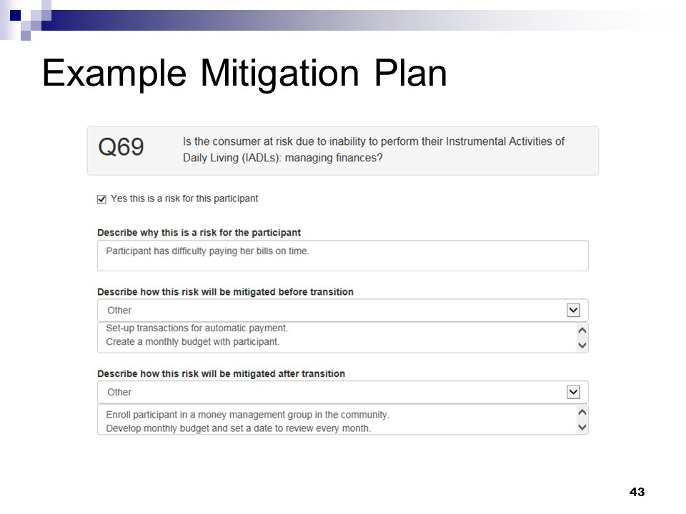 Example Mitigation Plan