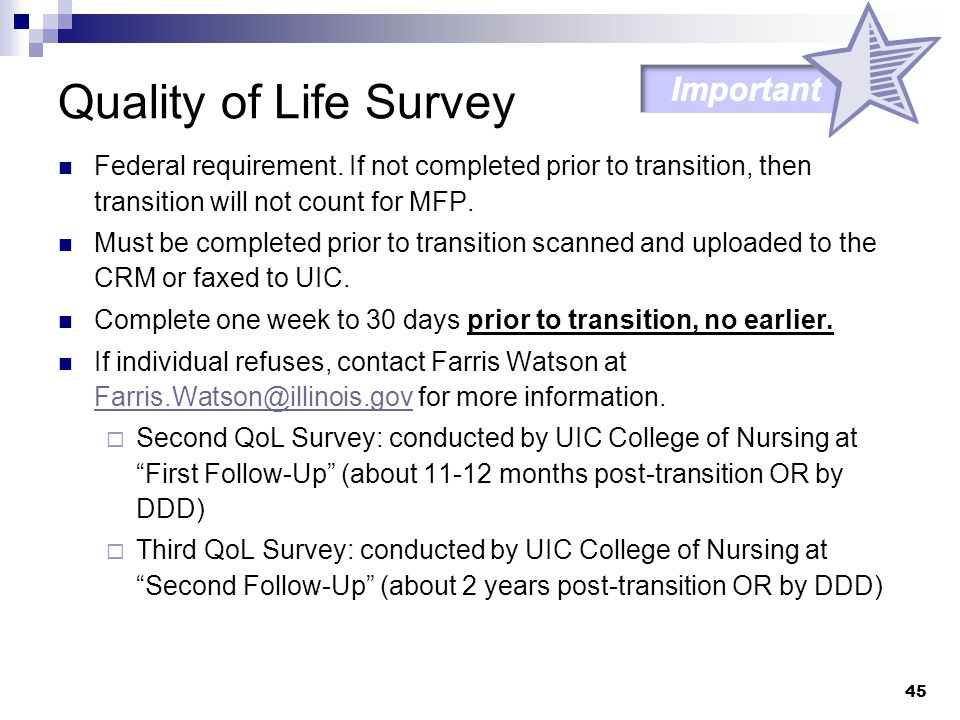 Quality of Life Survey Important