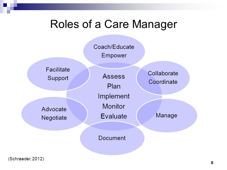 Roles of a Care Manager Assess Plan Implement Monitor Evaluate