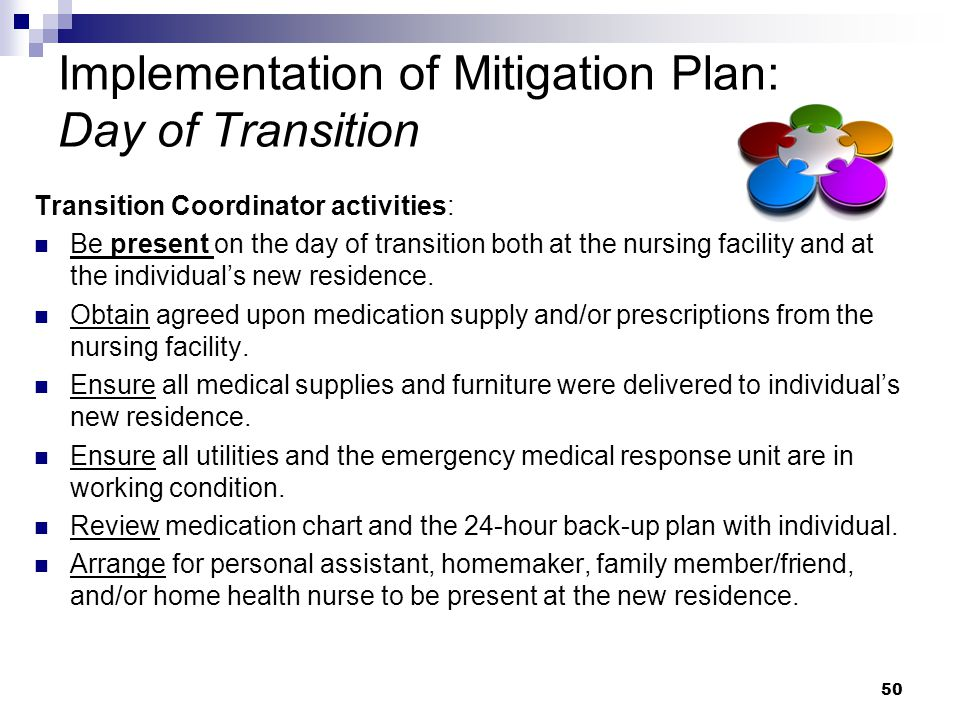 Implementation of Mitigation Plan: Day of Transition