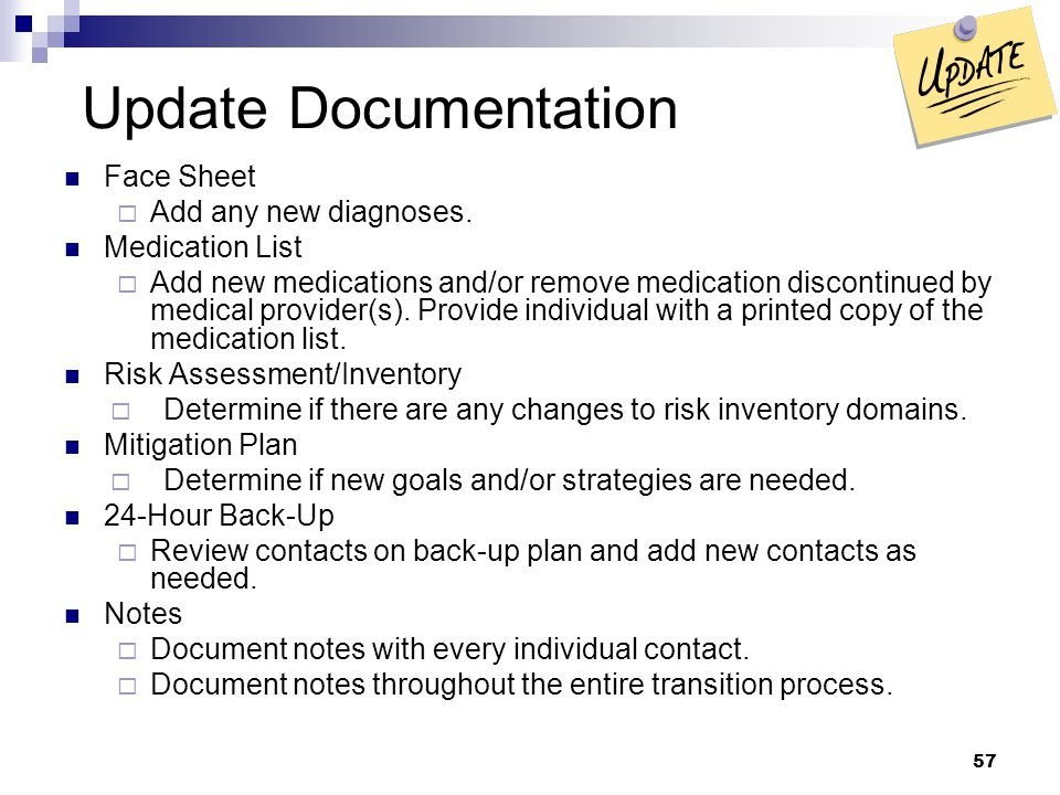 Update Documentation Face Sheet Add any new diagnoses. Medication List