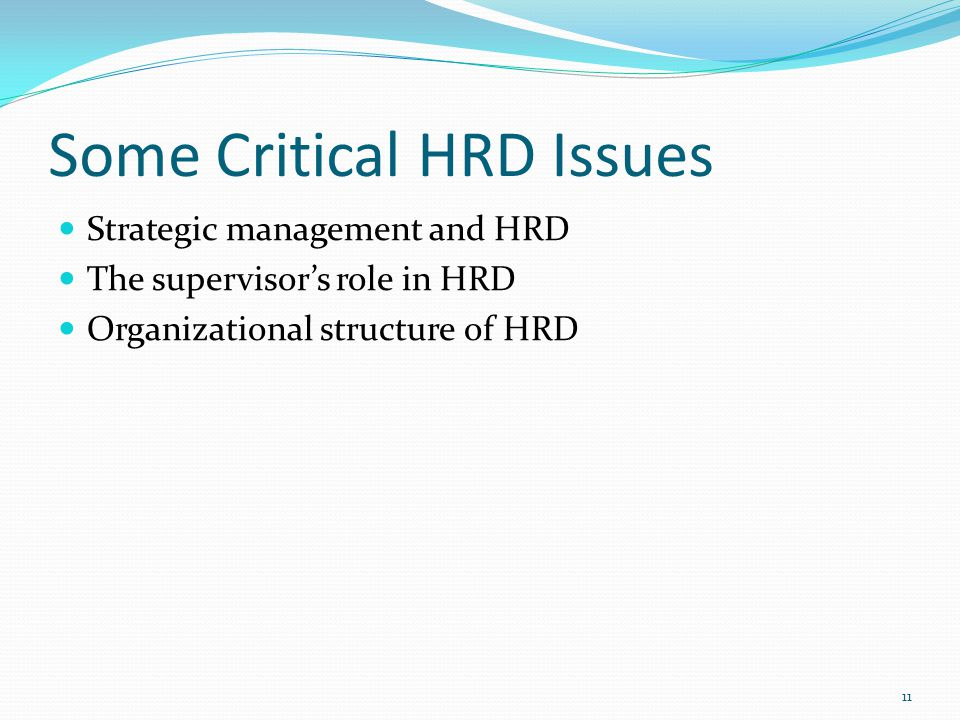 Some Critical HRD Issues