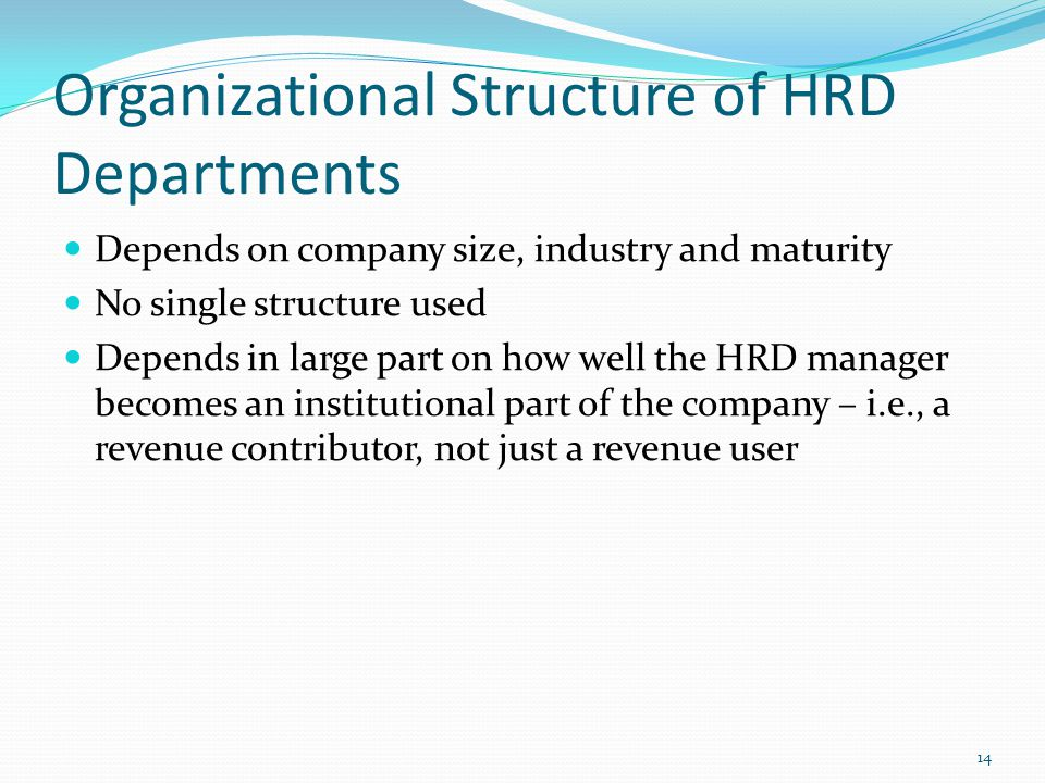 Organizational Structure of HRD Departments