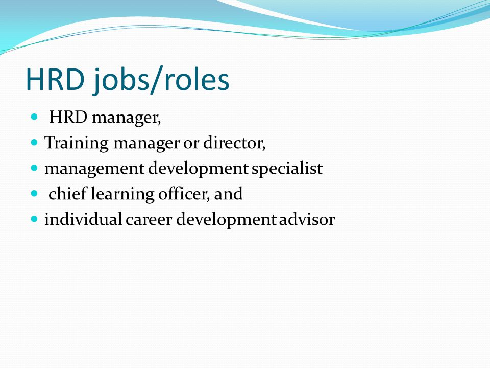 HRD jobs/roles HRD manager, Training manager or director,