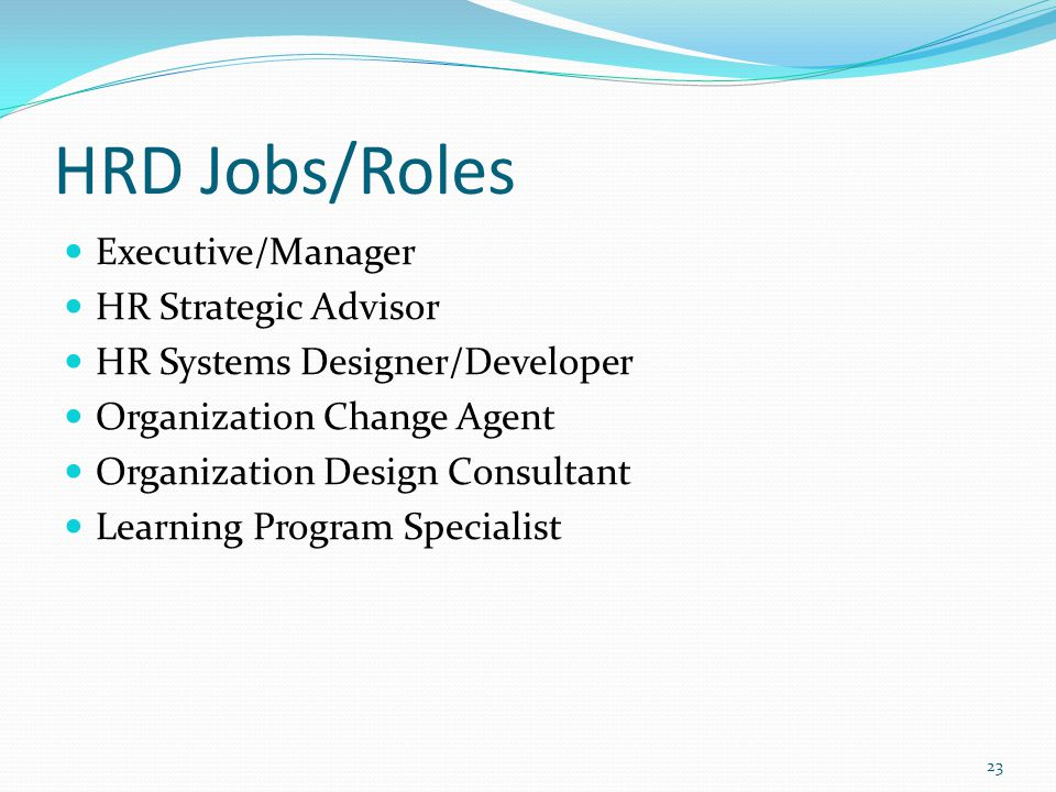 HRD Jobs/Roles Executive/Manager HR Strategic Advisor