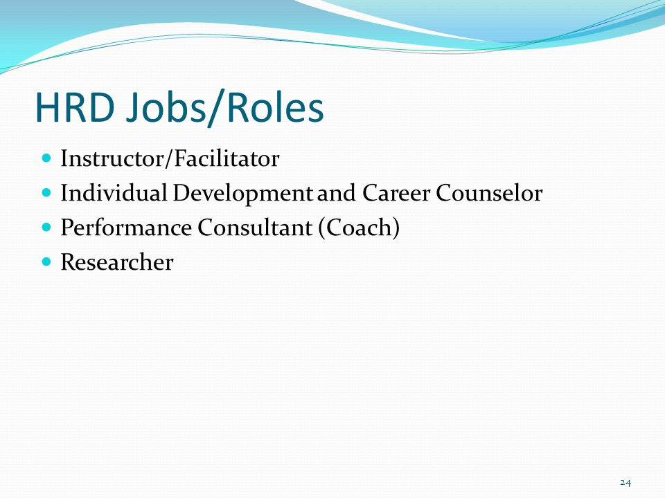 HRD Jobs/Roles Instructor/Facilitator