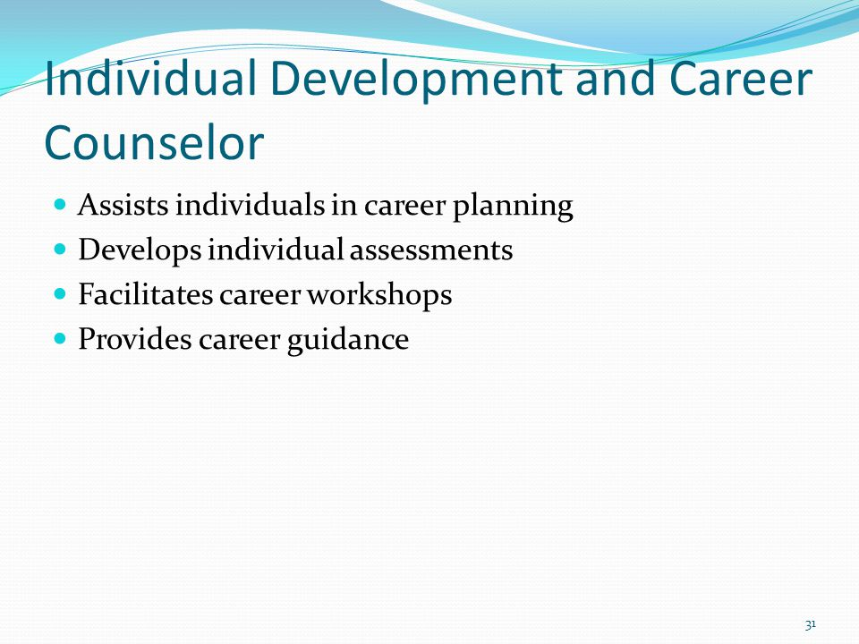 Individual Development and Career Counselor