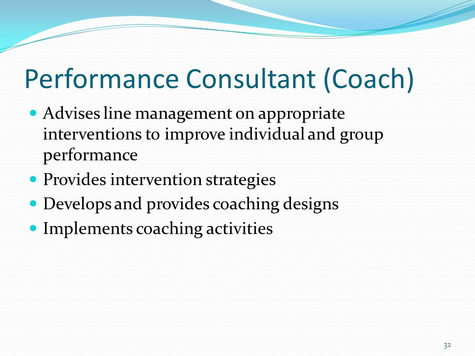 Performance Consultant (Coach)