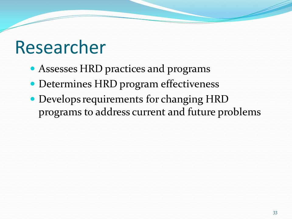 Researcher Assesses HRD practices and programs