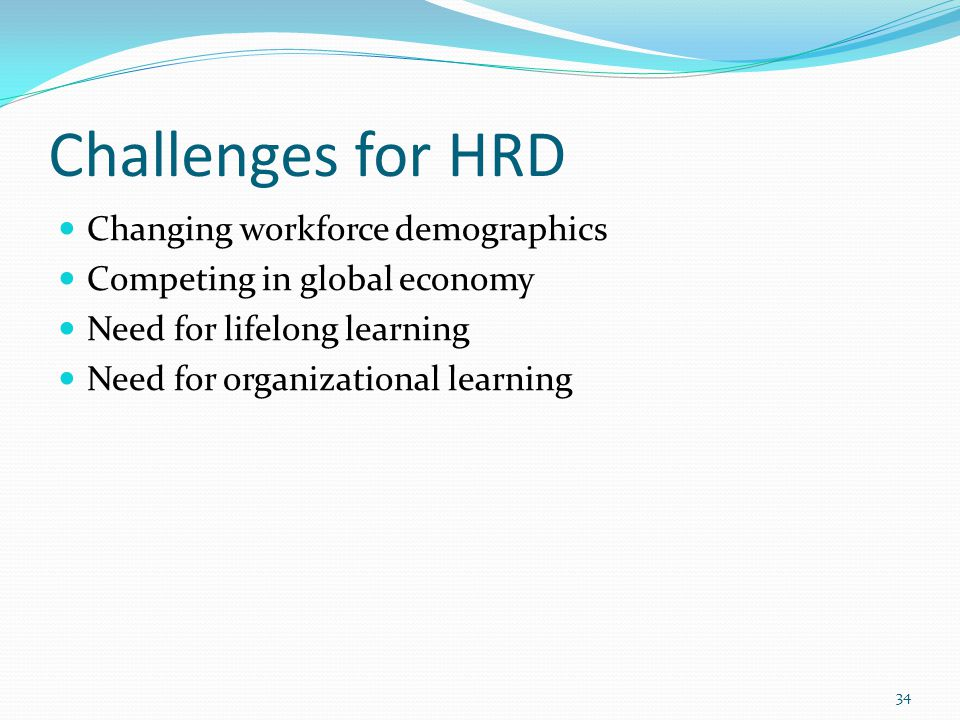 Challenges for HRD Changing workforce demographics
