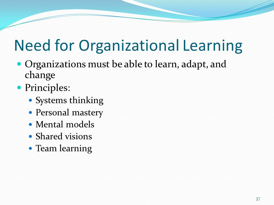 Need for Organizational Learning