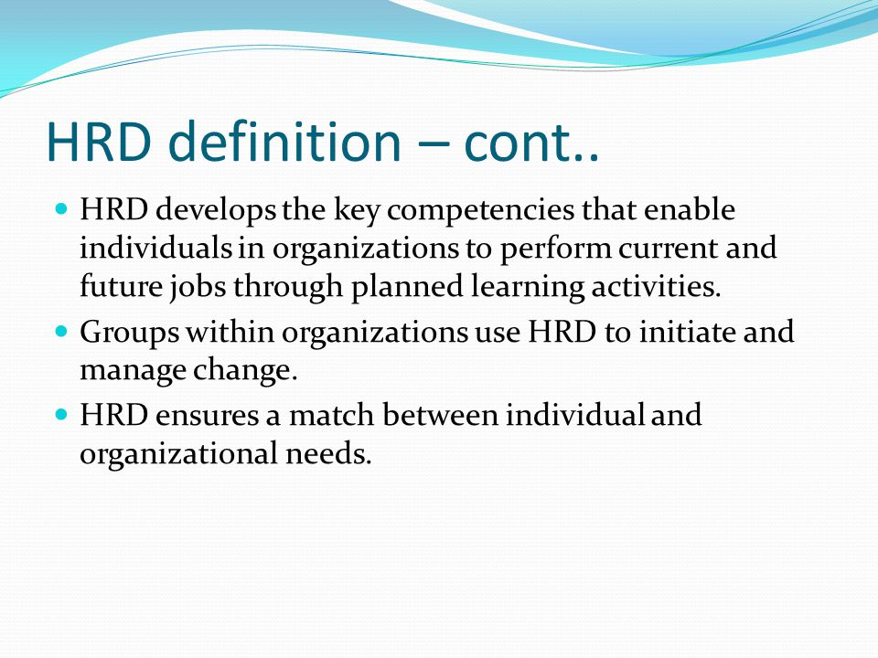 HRD definition – cont..