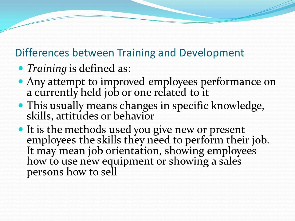 Differences between Training and Development