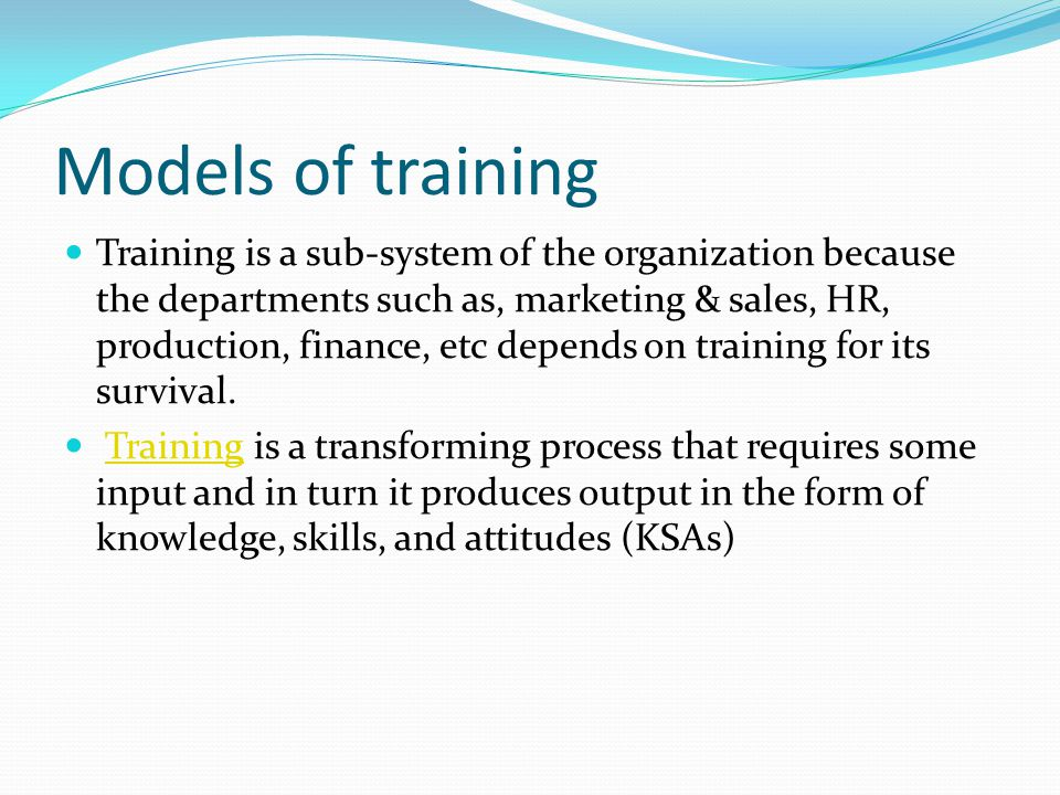Models of training