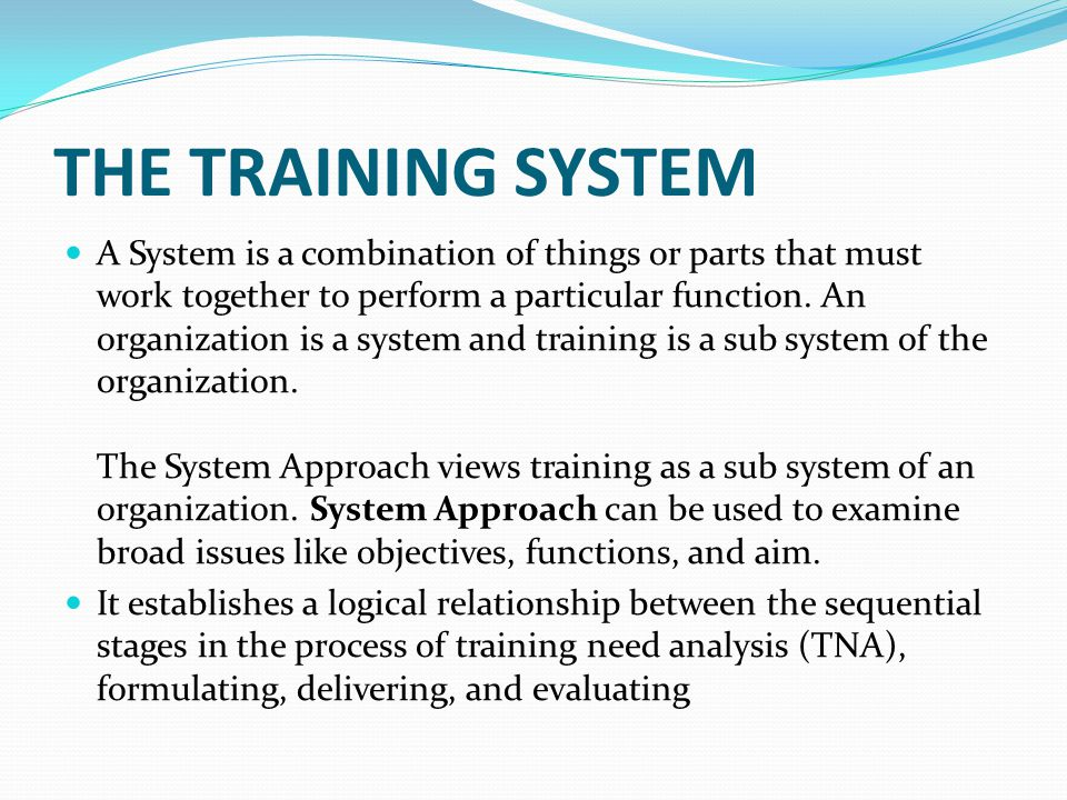THE TRAINING SYSTEM