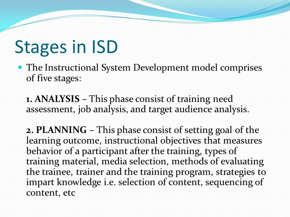 Stages in ISD