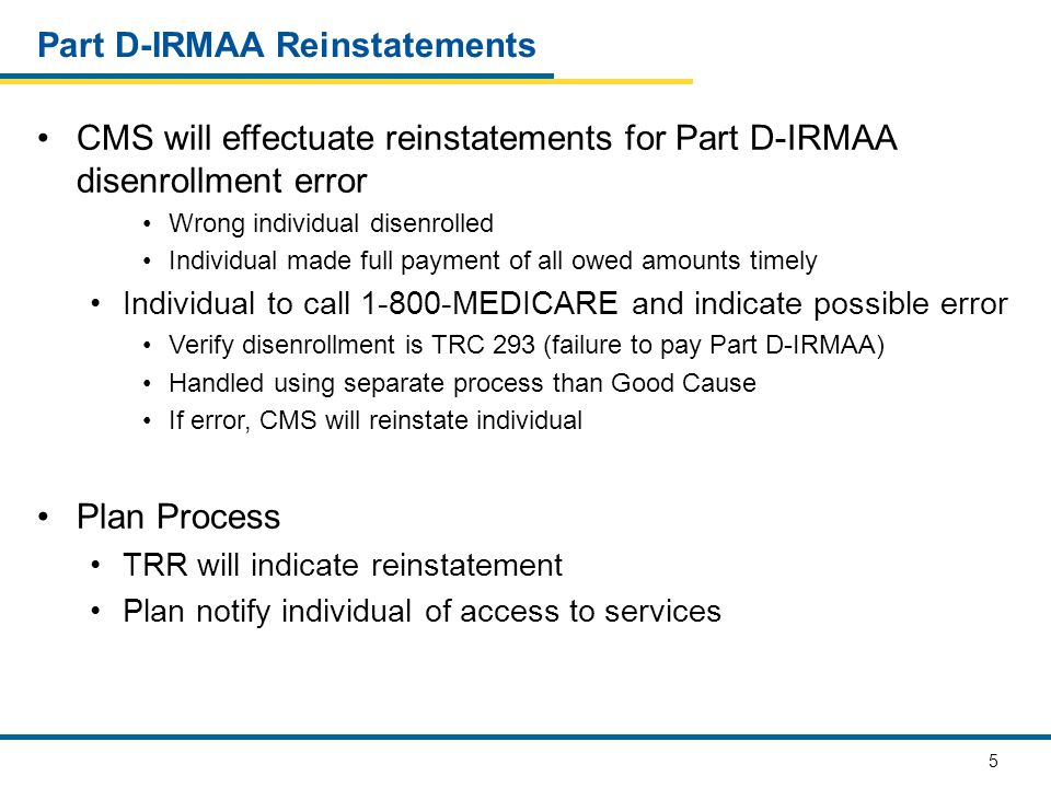 Part D-IRMAA Reinstatements