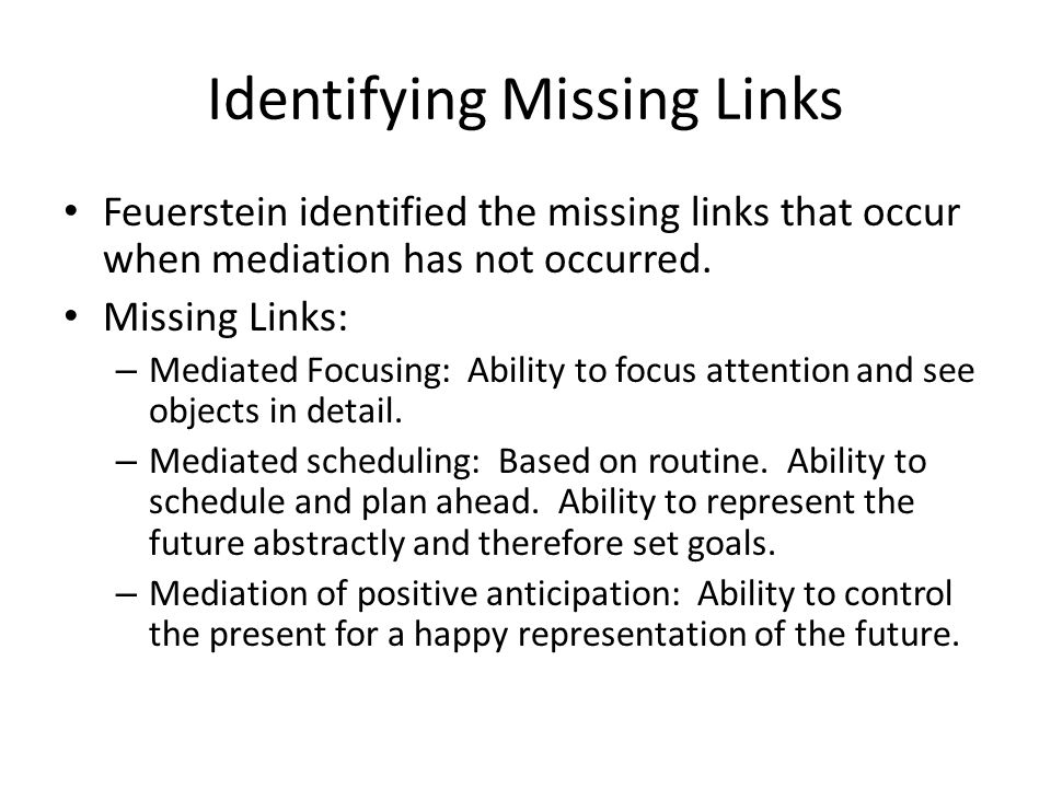 Identifying Missing Links