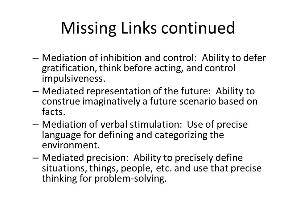 Missing Links continued