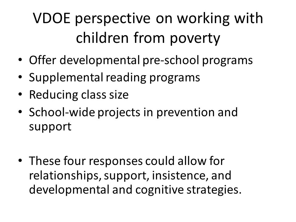 VDOE perspective on working with children from poverty