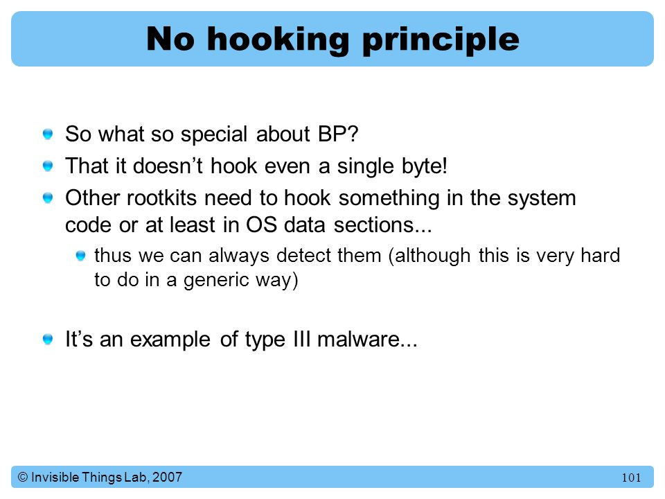 No hooking principle So what so special about BP
