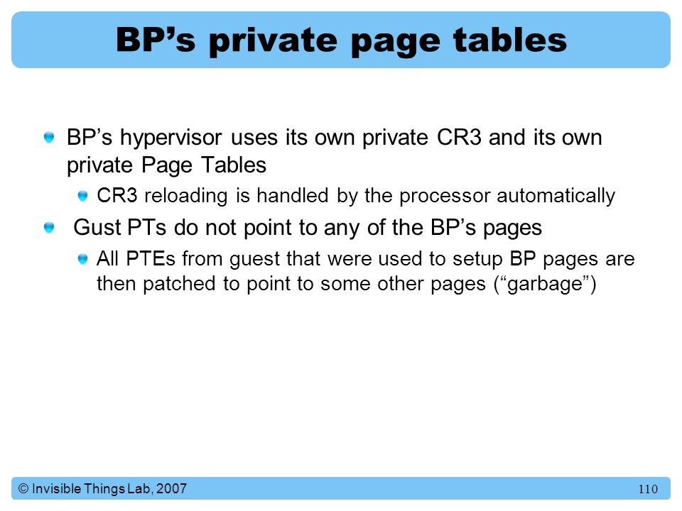 BP's private page tables