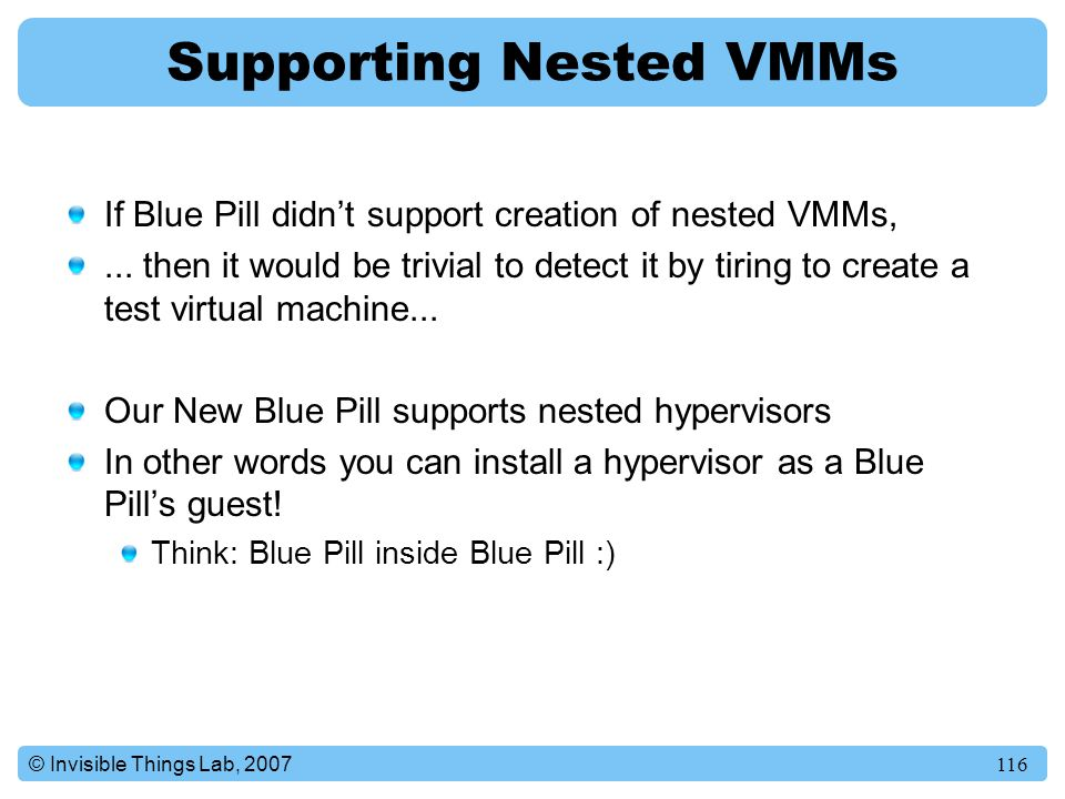 Supporting Nested VMMs