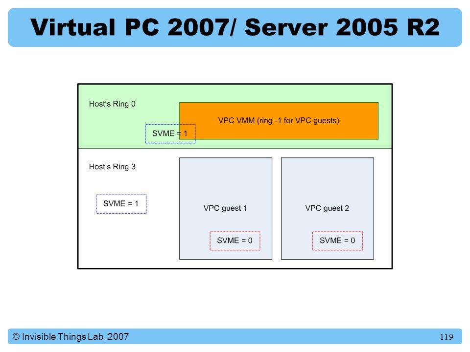 Virtual PC 2007/ Server 2005 R2 © Invisible Things Lab, 2007