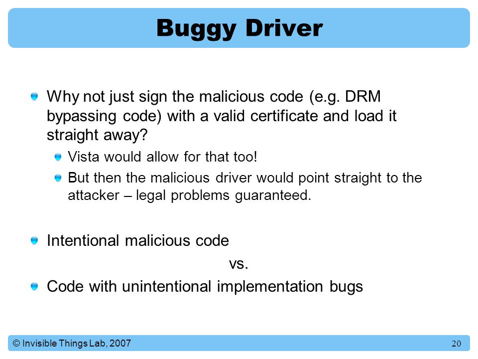 Buggy Driver Why not just sign the malicious code (e.g. DRM bypassing code) with a valid certificate and load it straight away