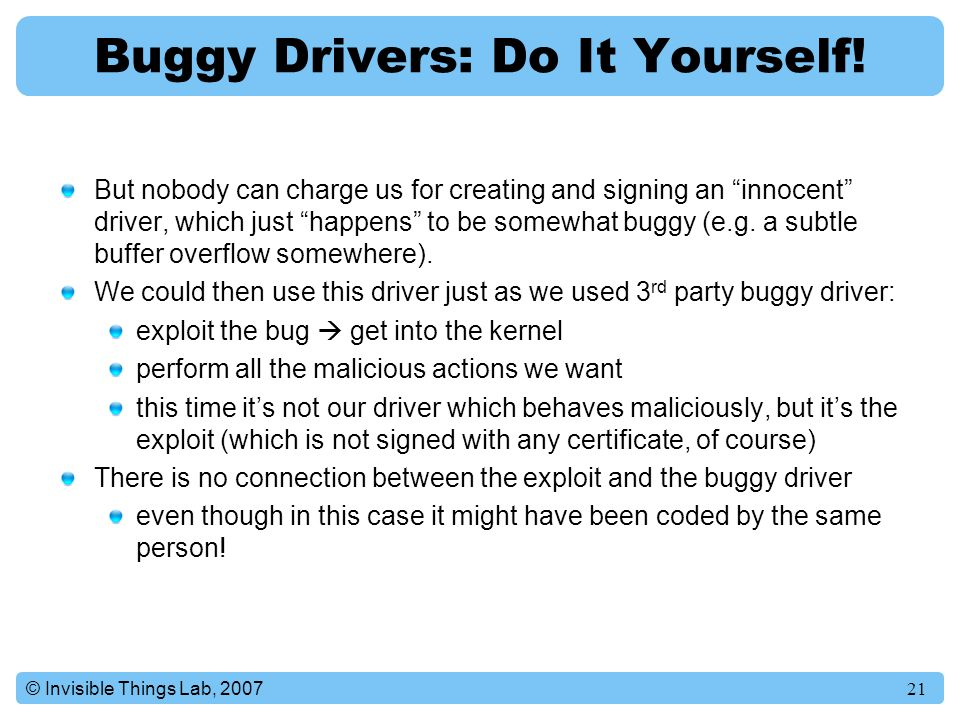 Buggy Drivers: Do It Yourself!