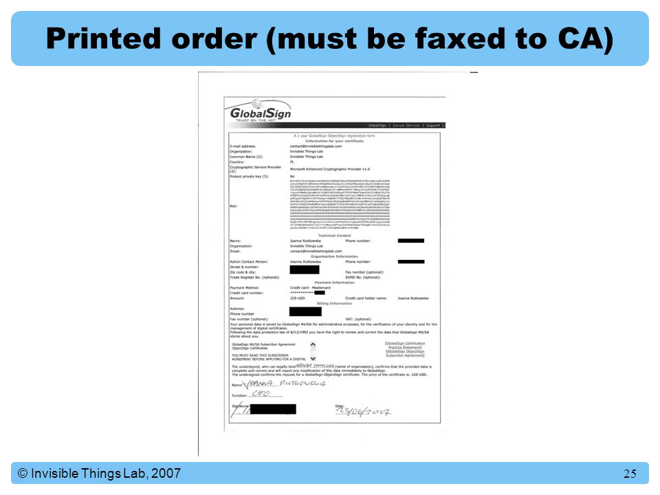 Printed order (must be faxed to CA)