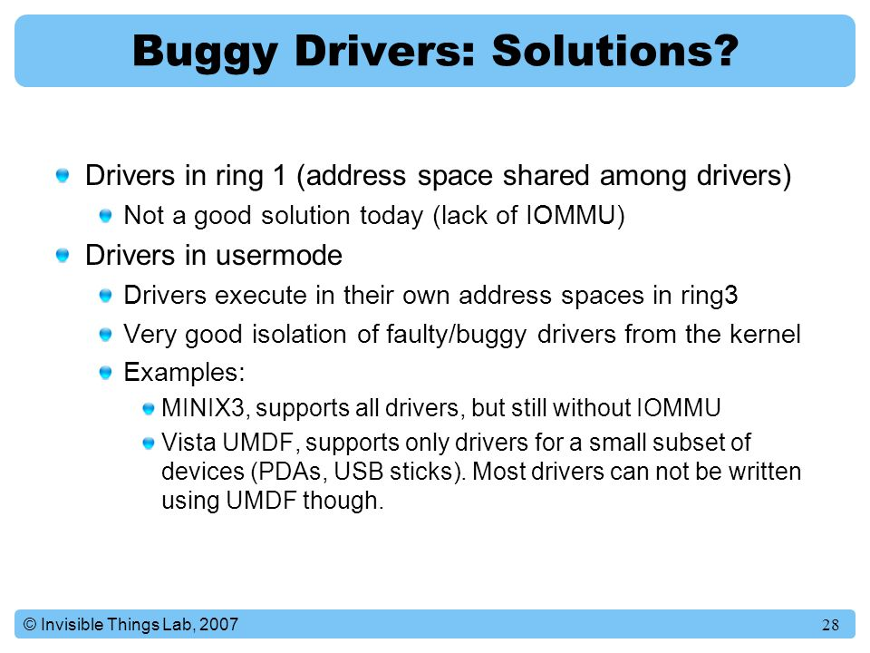 Buggy Drivers: Solutions